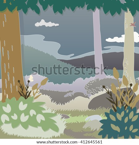 Forest, to an open grassy field with mountains, sky and clouds. Details are silhouetted like cut, colored,  paper.
