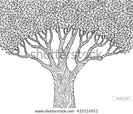 Forest tree isolated, big old tree. Vector tree, botany detailed artwork. Coloring book page for adult. Bohemia concept for invitation, card, ticket, branding, logo, label, emblem. Black and white - stock vector