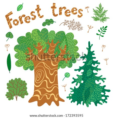Forest trees, bushes, leaves. Set of cute elements for design. Vector illustration. - stock vector