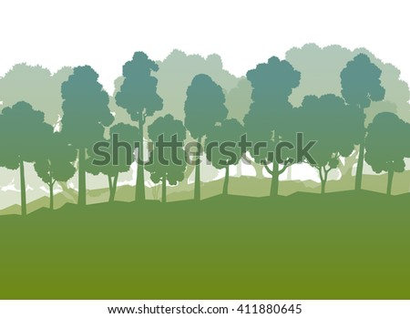 Forest trees green abstract vector background summer landscape - stock vector