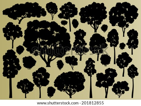 Forest trees silhouettes illustration collection background vector