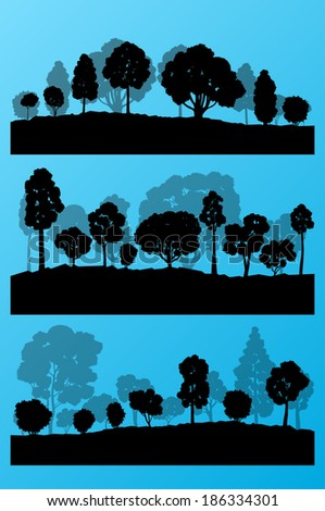 Forest trees silhouettes landscape illustration collection background set vector