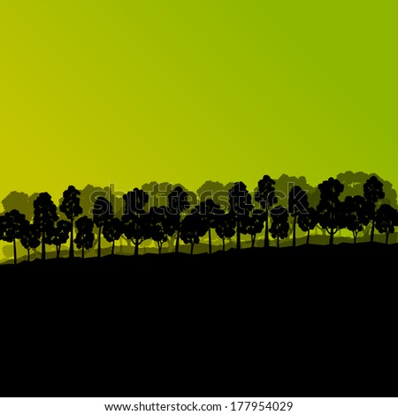 Forest trees silhouettes natural wild landscape detailed illustration background vector - stock vector