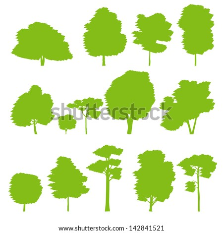 Forest trees silhouettes vector background set - stock vector