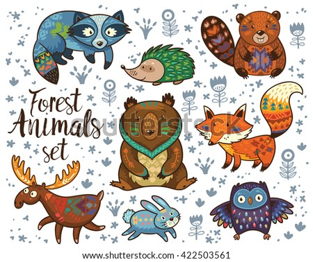 Forest tribal animals vector set