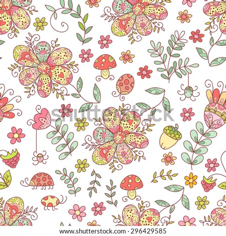 Forest vector seamless pattern. Doodle background with flowers, leafs, bugs. Cute print background. Cartoon background.
