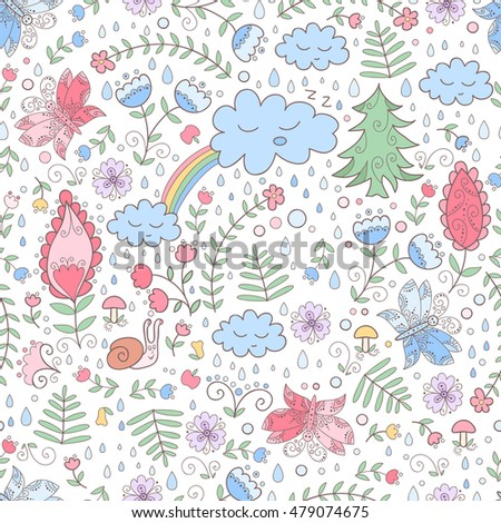 Forest vector seamless pattern with flowers and clouds. Cute print with butterfly's.