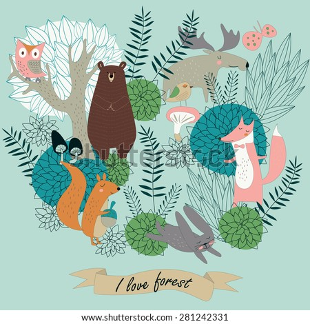 Forest vector with cute forest animals, trees and flowers in cartoon style - stock vector