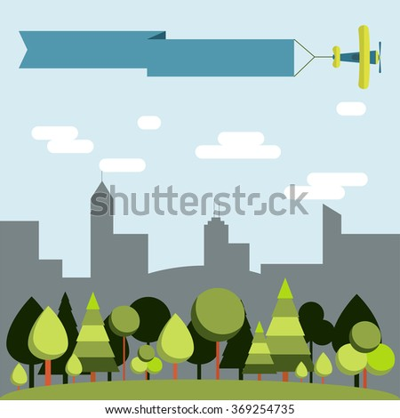 Forest vs city. Landscape contrasting forest and city in the background. Plane flying with a ribbon. Space to insert text. - stock vector