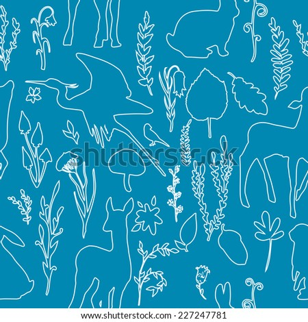 Forest wildlife seamless pattern with outline deer, birds, plants and mushrooms. Vintage hand drawn texture. - stock vector