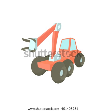 Forestry harvester icon in cartoon style on a white background - stock vector