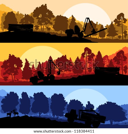 Forestry loggers tractors in forest glade landscape with detailed wild animals illustration collection background vector - stock vector