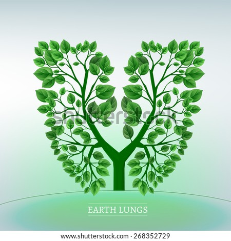 Forests are the Earth lungs! Vector iconic illustration of a tree in a shape of lungs.  - stock vector