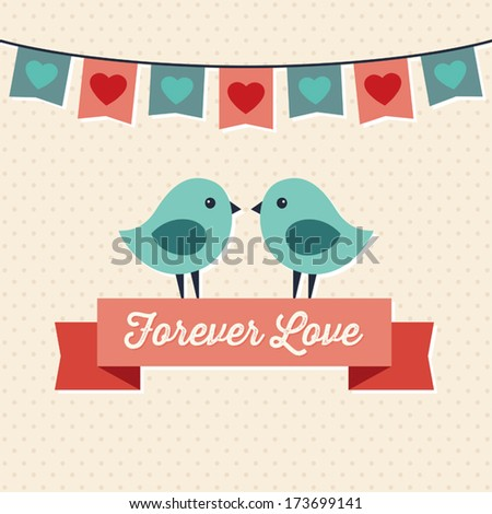 Forever Love illustration with two cute love birds and ribbon banner. Great for Valentine's Day, greeting card, wedding, engagement, poster, menu, party invitation, social media, web banner. - stock vector