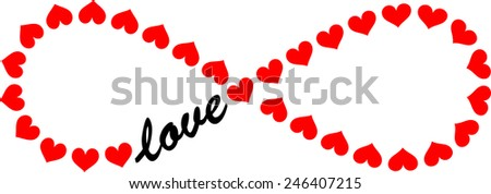 Forever Love, Infinity, Hearts  - stock vector