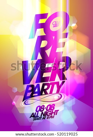 Forever party poster design concept, golden and pink bokeh background
