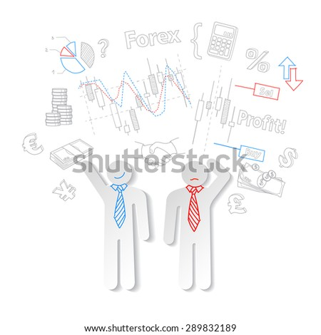 Forex traders and symbols stock trading vector  - stock vector