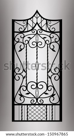 Forged gate door. Vector EPS10. - stock vector