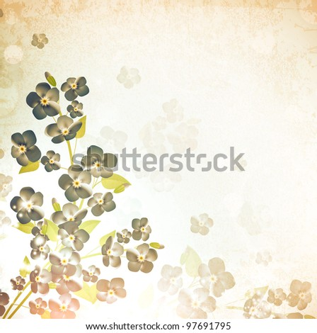 forget-me-not flower vintage grunge background - stock vector