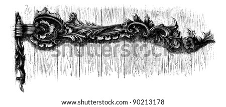 Forgings, to the front door of the Cathedral Catholic Temesvar (Hungary). Drawing of Edward Garnier, after the album of Mr. Ernest Desjardins, vintage engraved illustration. Magasin Pittoresque 1875. - stock vector
