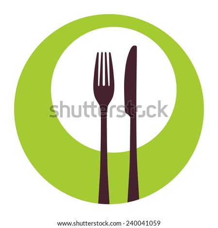 Fork and knife icon - stock vector