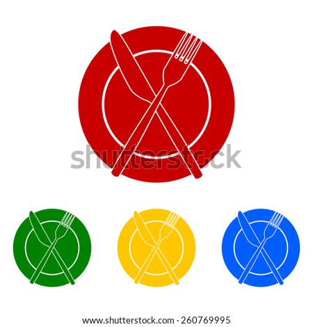 Fork and Knife Icons - stock vector