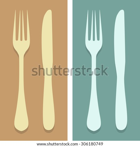 fork and knife icons set great for any use. Vector EPS10.