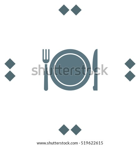 Fork and knife menu vector icon. Hotel resort sign. Motel and hostel symbol