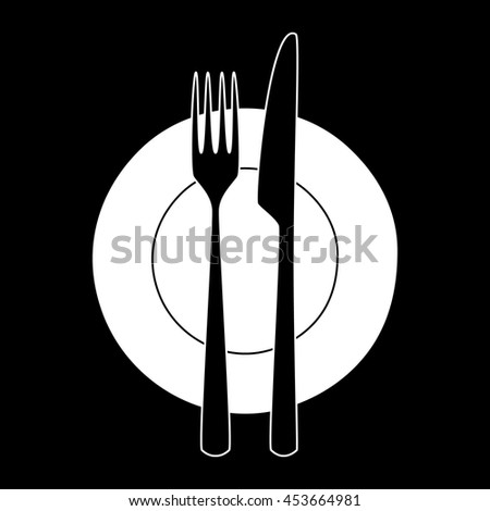 Fork and knife on a plate. Minimalistic icon. Symbol of cutlery. Vector illustration