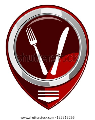 Fork and knife - red map pointer isolated on white