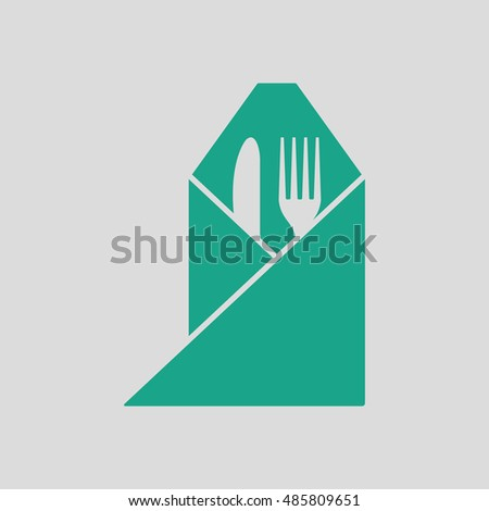 Fork and knife wrapped napkin icon. Gray background with green. Vector illustration.
