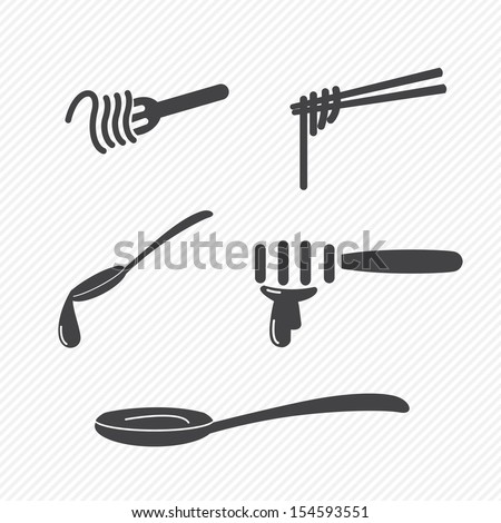 fork and spoon and chopsticks icons isolated on white background - stock vector