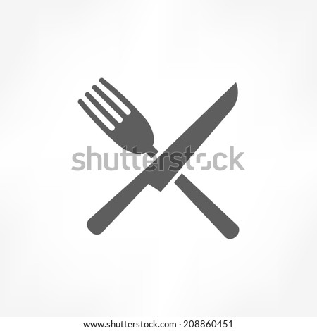 fork cross knife icon - stock vector