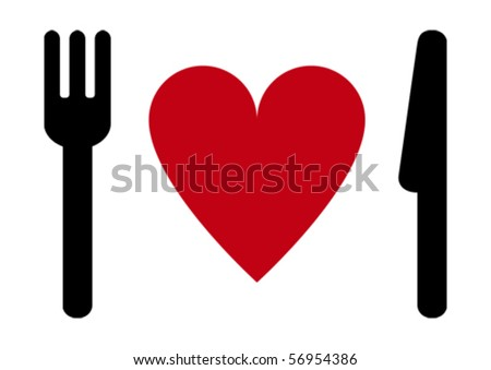 Fork, heart, knife. - stock vector