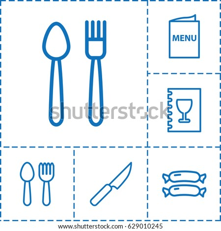 Fork icon. set of 6 fork outline icons such as sausage, menu