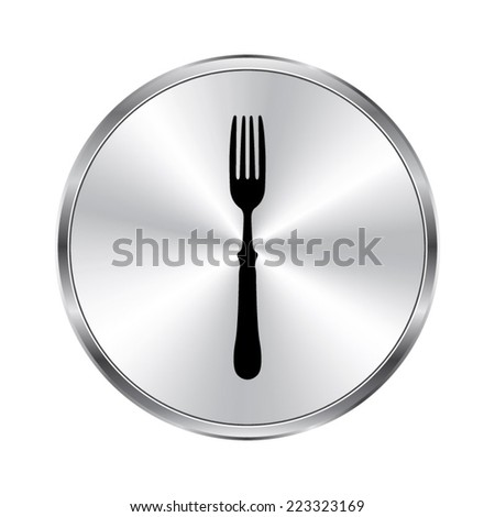 fork icon - vector brushed metal button - stock vector