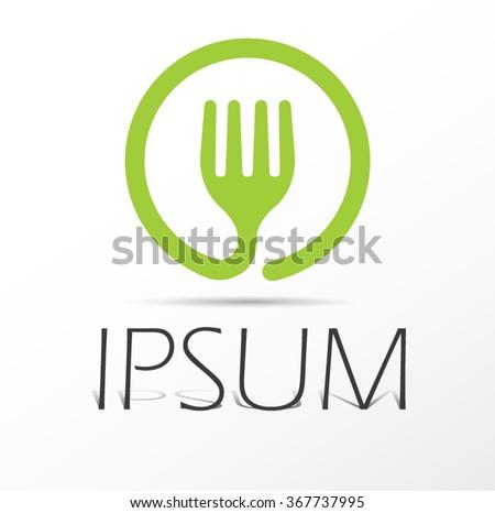 Fork icon, vector logo design - stock vector