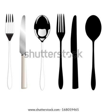 Fork, knife and spoon - stock vector