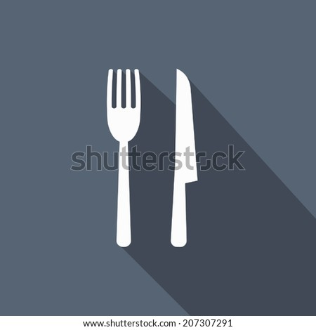 fork & knife icon with long shadow - stock vector