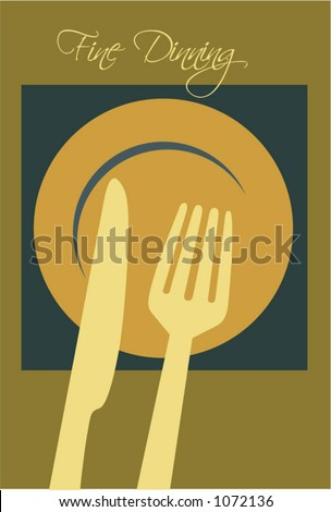 Fork knife & red plate clip-art Menu - stock vector