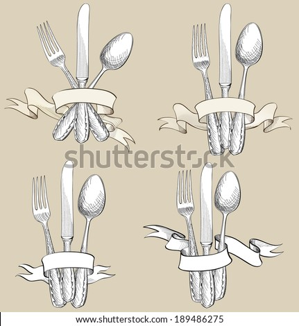 Fork, Knife, Spoon hand drawing sketch set. Cutlery collection. Restaurant symbol set. - stock vector