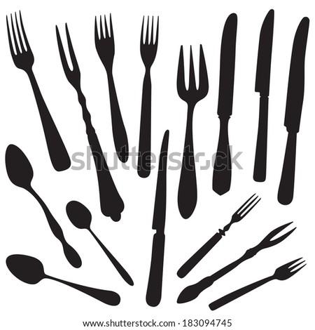 Fork, Knife, Spoon Silhouette set.  - stock vector
