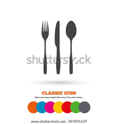 Fork, knife, tablespoon sign icon. Cutlery collection set symbol. Classic flat icon. Colored circles. Vector