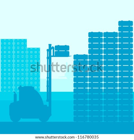 Fork lift truck with load vector background vector - stock vector