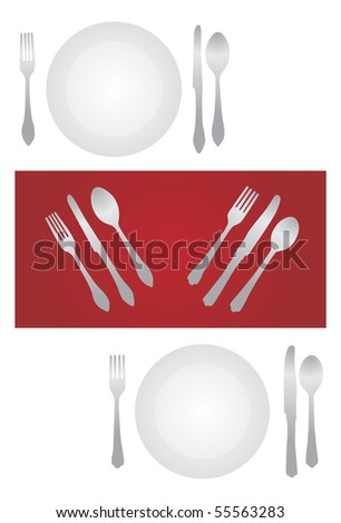 fork plate and knife isolated on white background - stock vector