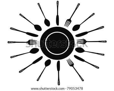 Fork spoon and knife around the dish - stock vector