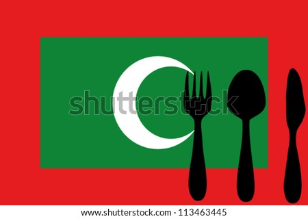 Fork, spoon and knife isolated on the Maldives flag