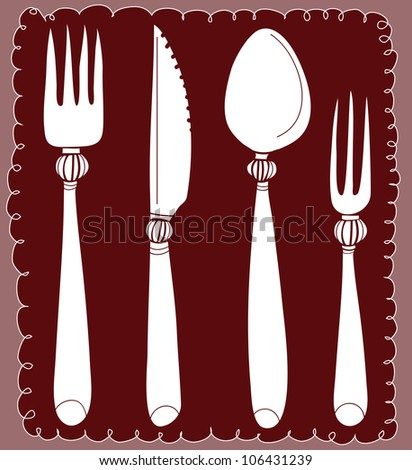 fork spoon and knife service - stock vector