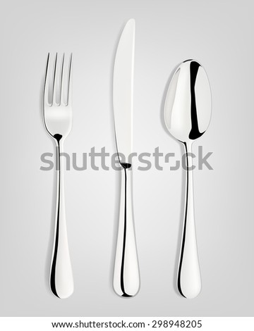 Fork, spoon and knife. Vector EPS10 illustration