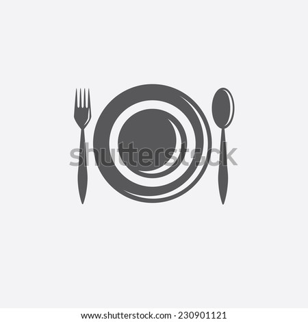 fork,spoon and plate vector design template - stock vector